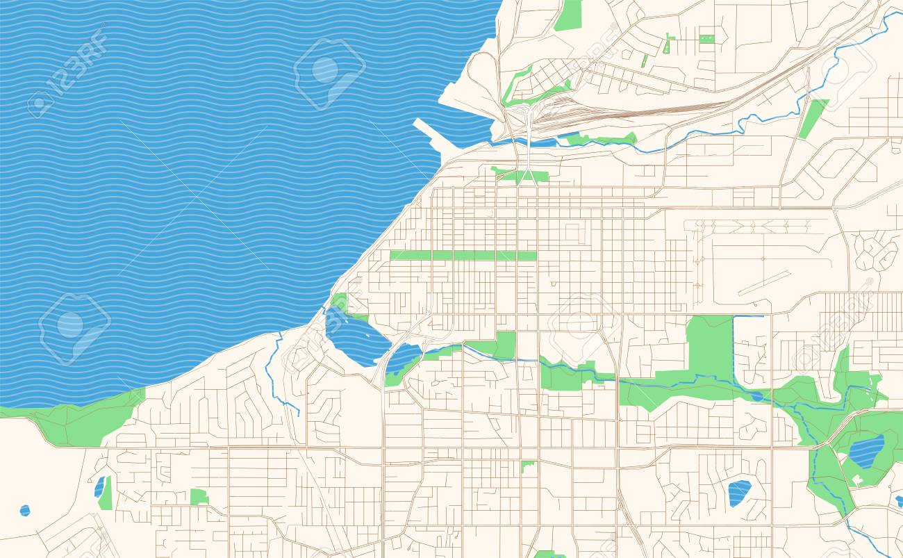 Anchorage Alaska printable map excerpt. This vector streetmap..