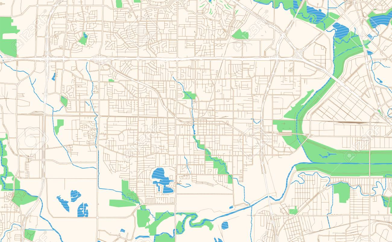 Irving Texas Printable Map Excerpt This Vector Streetmap Of