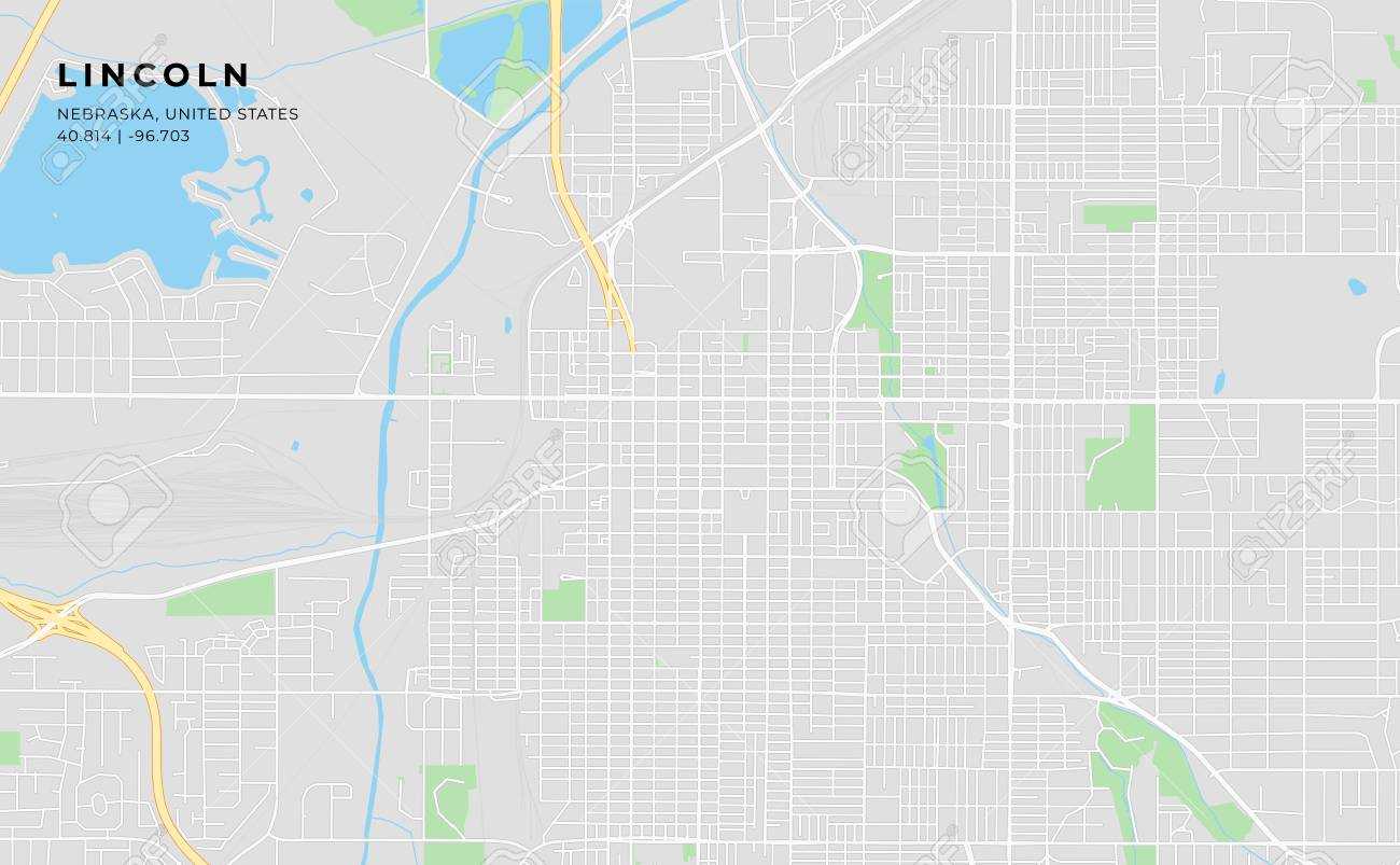 Printable streetmap of Lincoln including highways, major roads, minor roads and bigger railways. The name of the city and the geographic data are grouped and can be removed if they are not needed. - 125103201