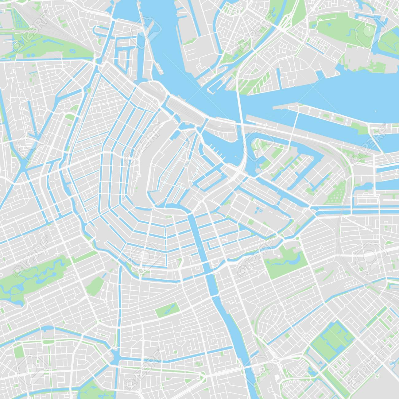 photo about Printable Map of Amsterdam named Downtown vector map of Amsterdam, Netherlands. This printable..
