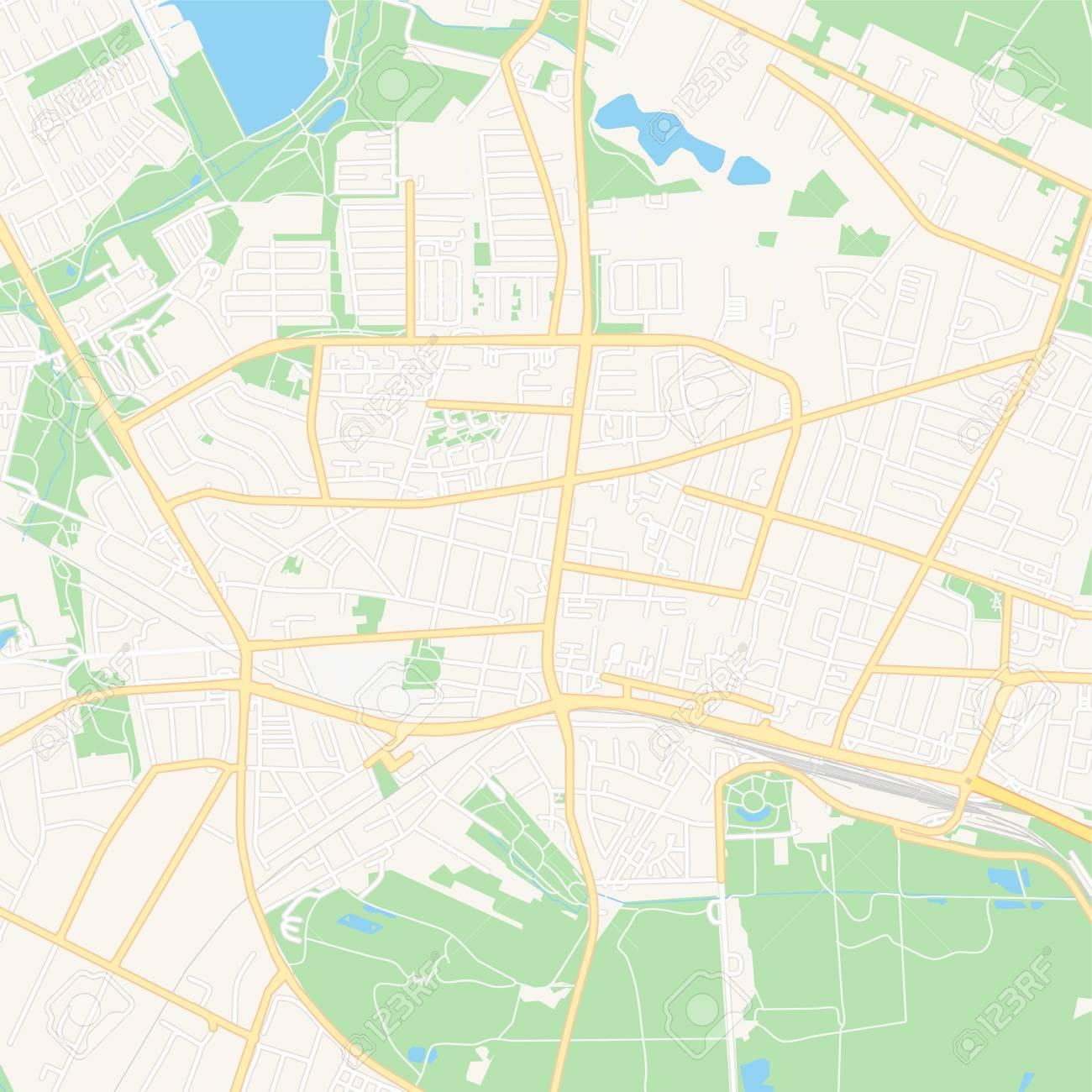 Image of: Printable Map Of Herning Denmark With Main And Secondary Roads Royalty Free Cliparts Vectors And Stock Illustration Image 124119415