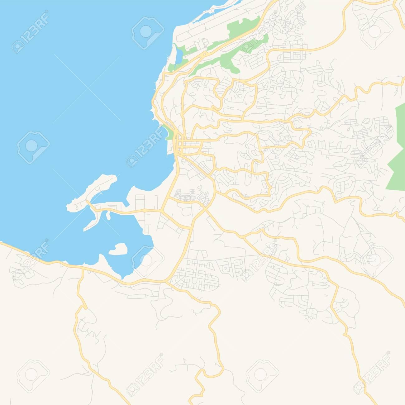 Empty vector map of Kingston, Saint James, Jamaica, printable..