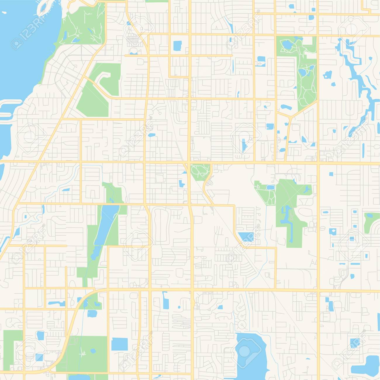 Empty vector map of Largo, Florida, USA, printable road map created..