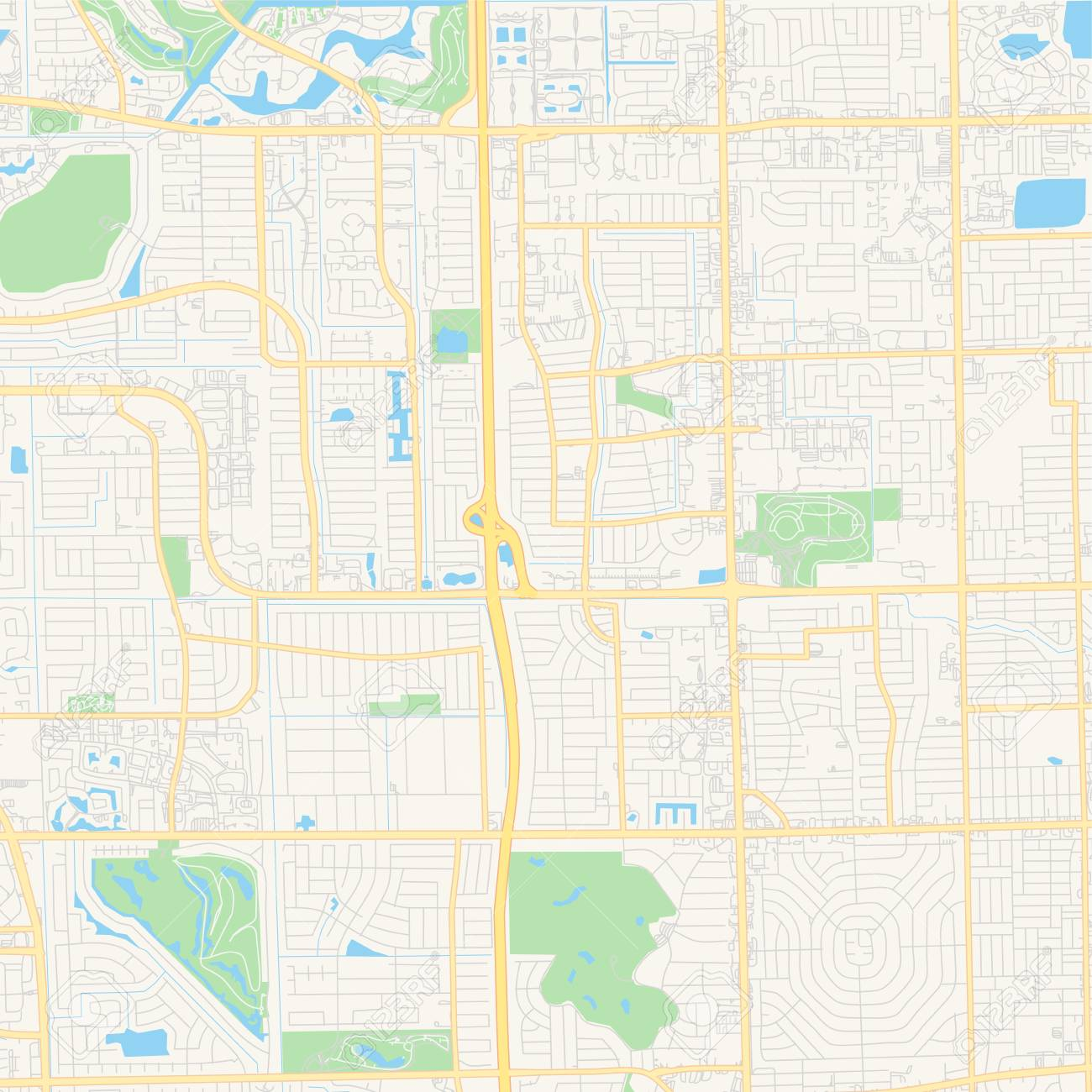 photo about Printable Florida Map called Vacant vector map of Lauderhill, Florida, United states, printable street..