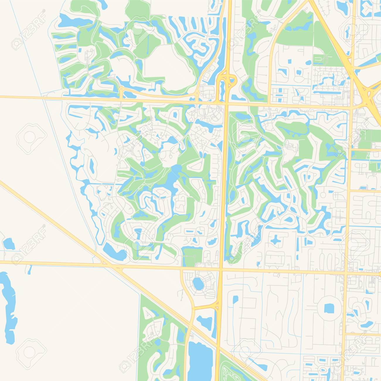 Empty vector map of Palm Beach Gardens, Florida, United States..