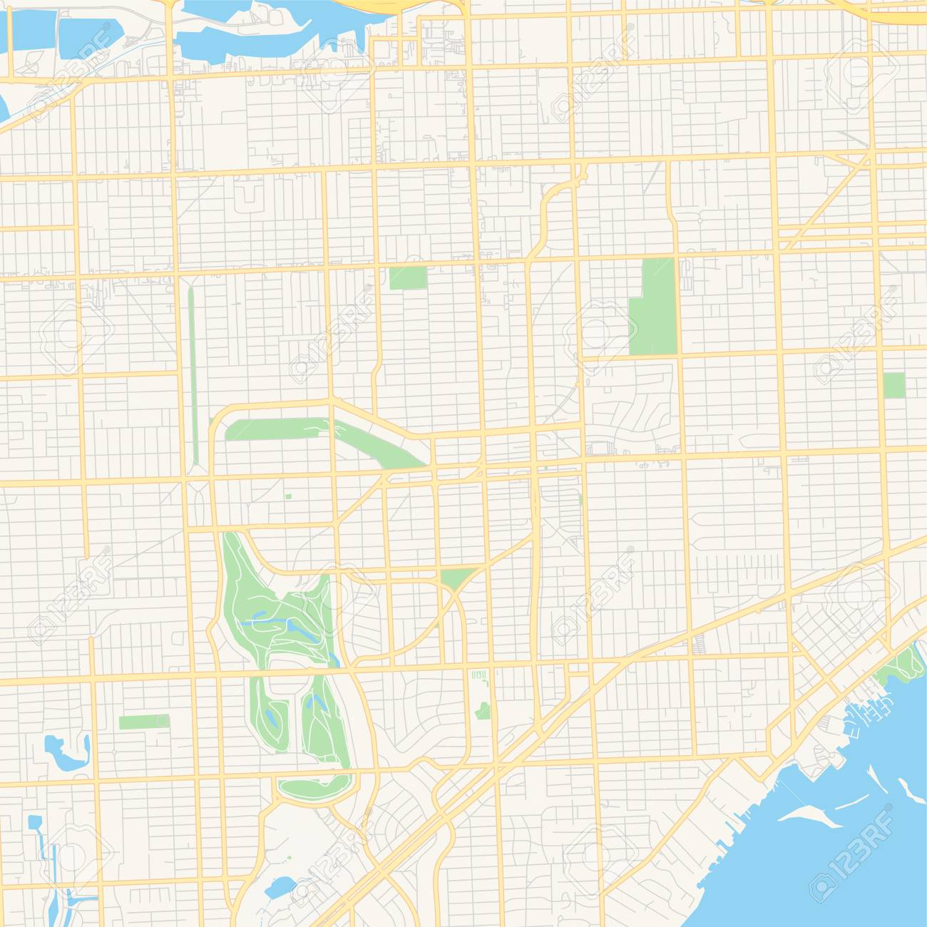 Empty vector map of Coral Gables, Florida, United States of America,..