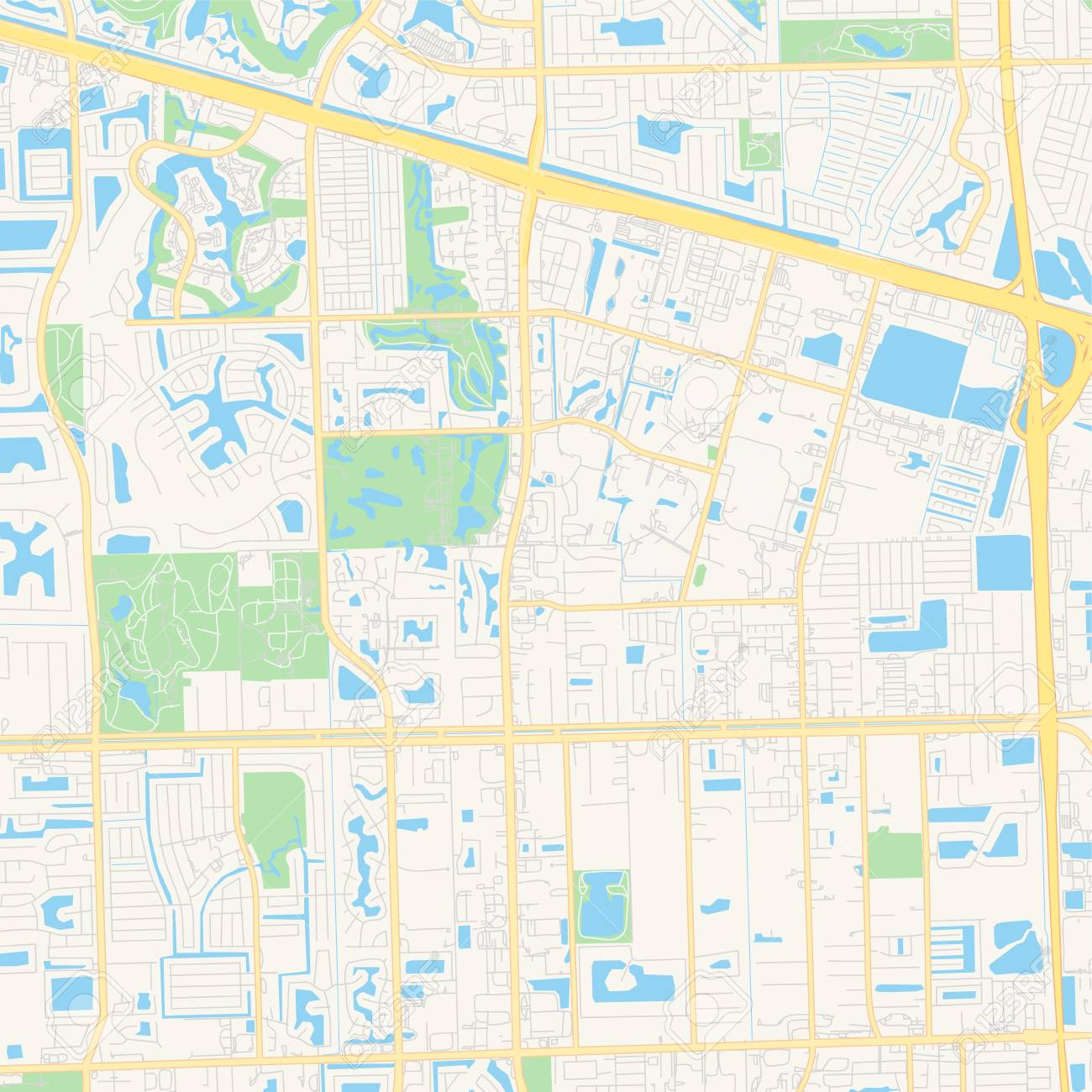 Empty vector map of Davie, Florida, USA, printable road map created..