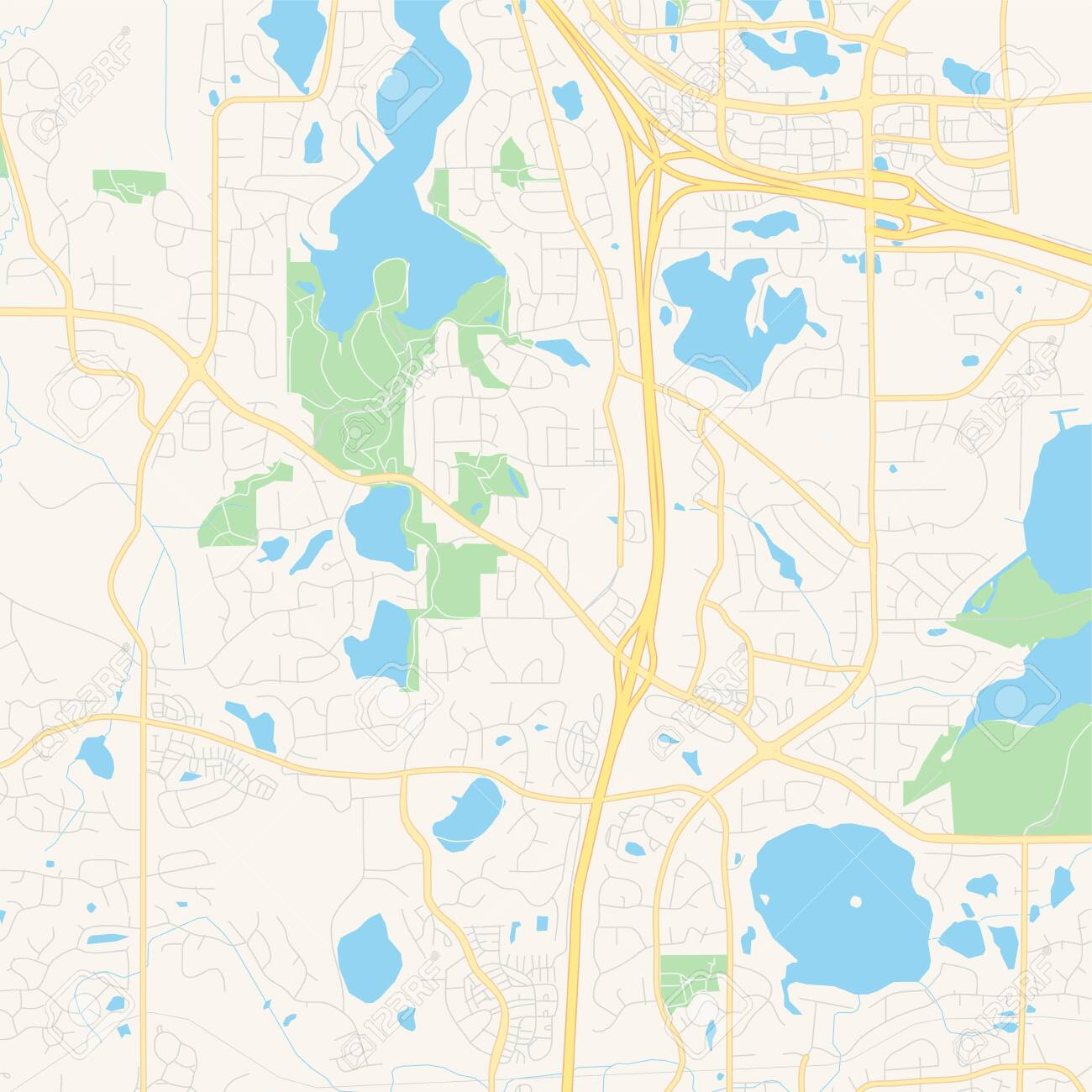 Empty vector map of Maple Grove, Minnesota, USA, printable road..