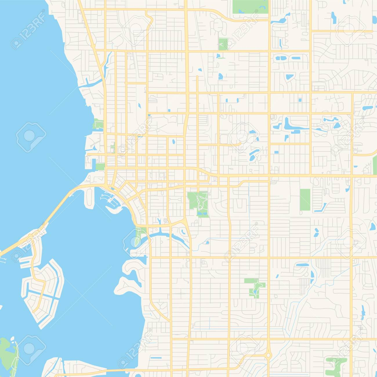 Empty vector map of Sarasota, Florida, USA, printable road map..