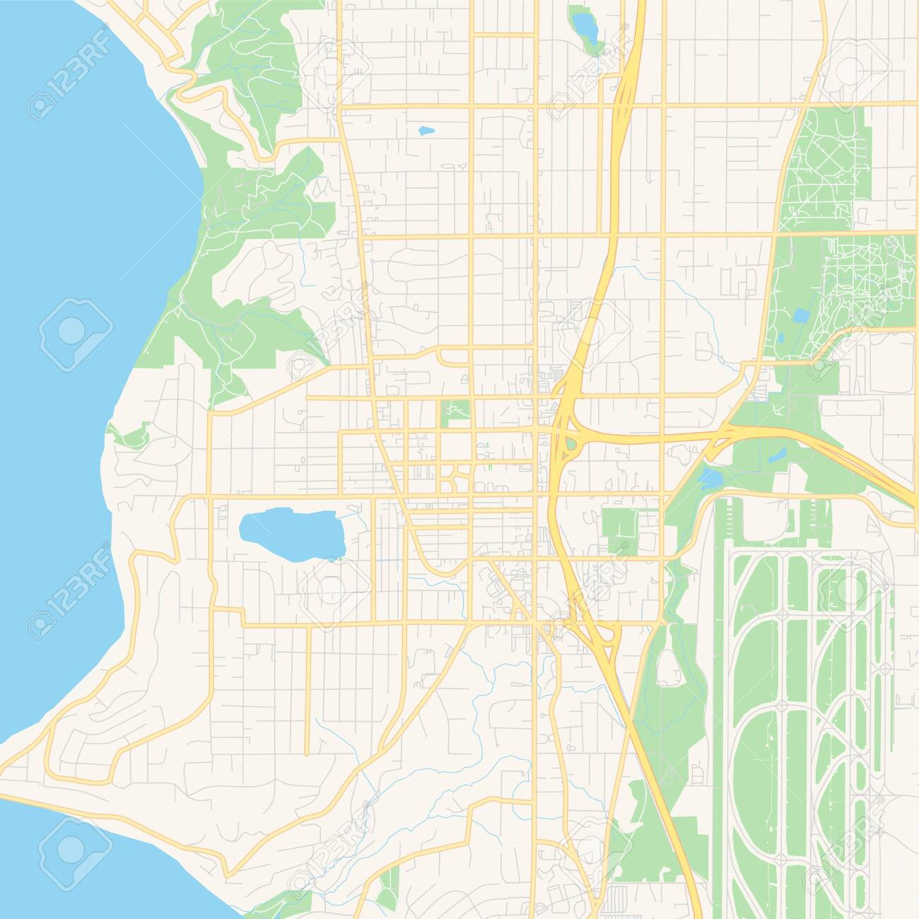 Empty vector map of Burien, Washington, United States of America,..