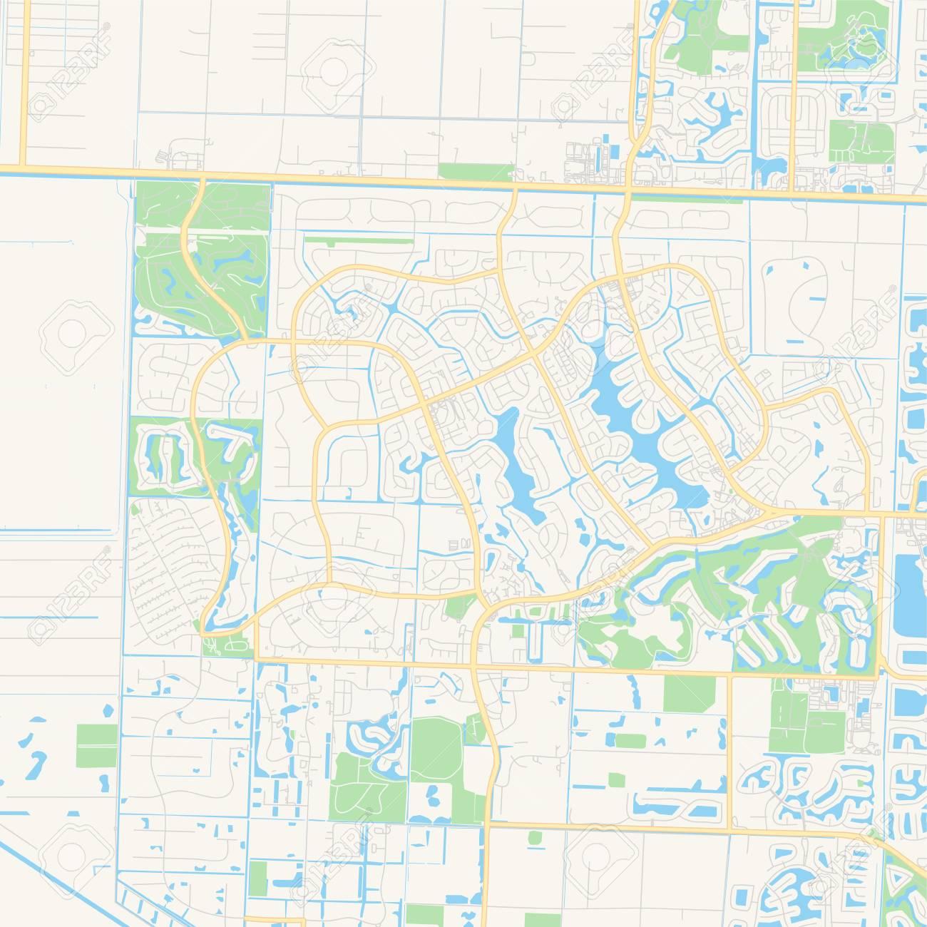 Empty vector map of Wellington, Florida, USA, printable road