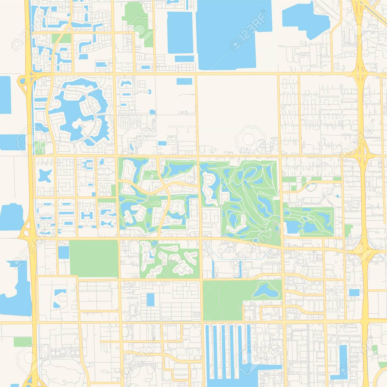 Empty vector map of Doral, Florida, USA, printable road map created