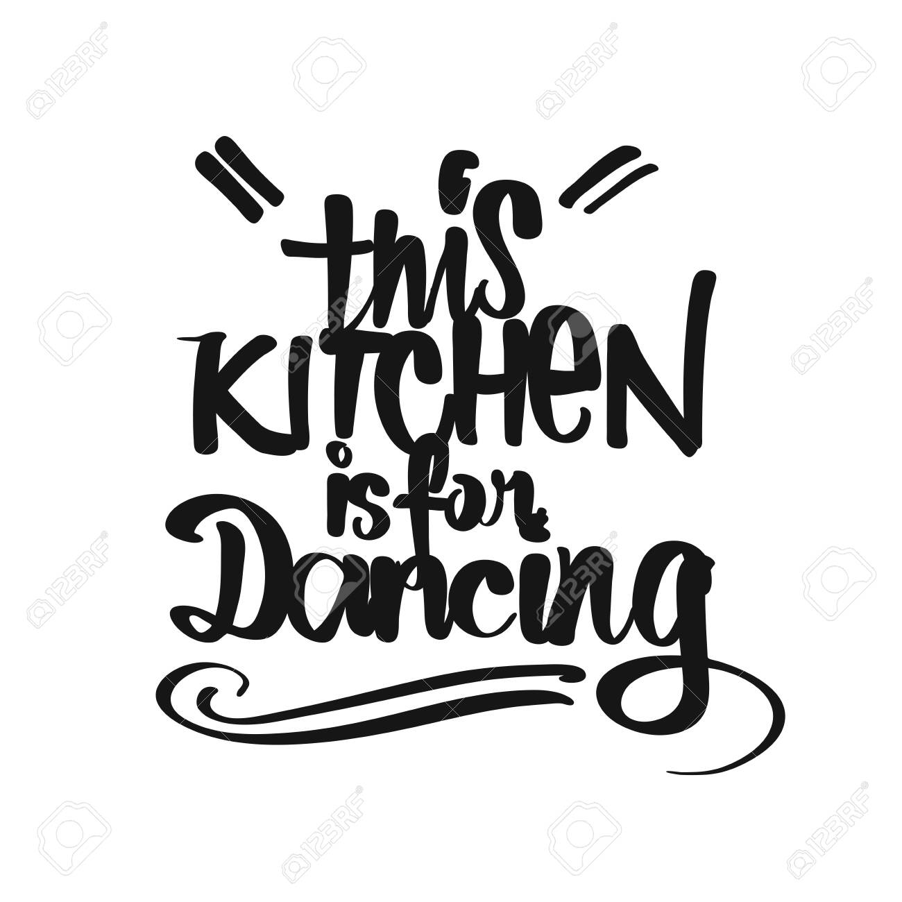 photo relating to Printable Kitchen Art called This Kitchen area Is For Dancing handwritten lettering. Printable..