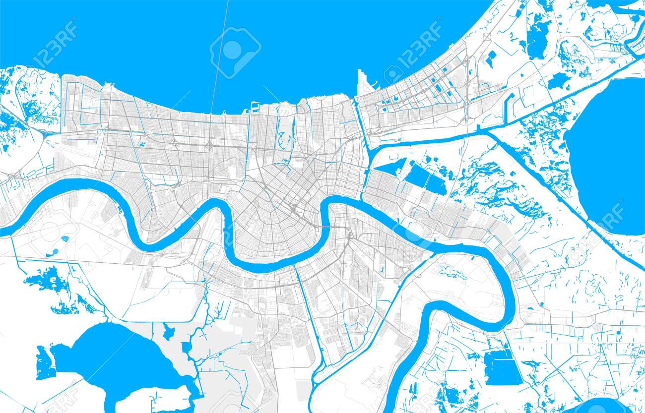 Rich detailed vector area map of New Orleans, Louisiana, U.S.A....