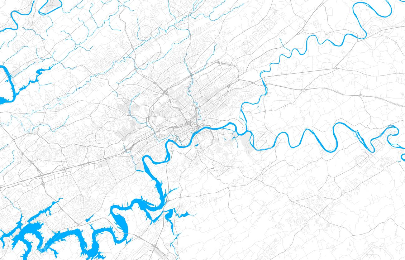 Rich detailed vector area map of Knoxville, Tennessee, USA. Map..