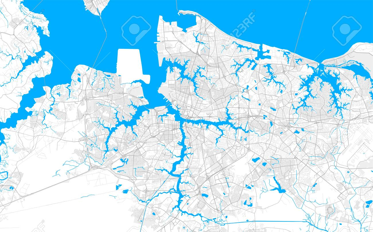 Rich detailed vector area map of Norfolk, Virginia, U.S.A.. Map..