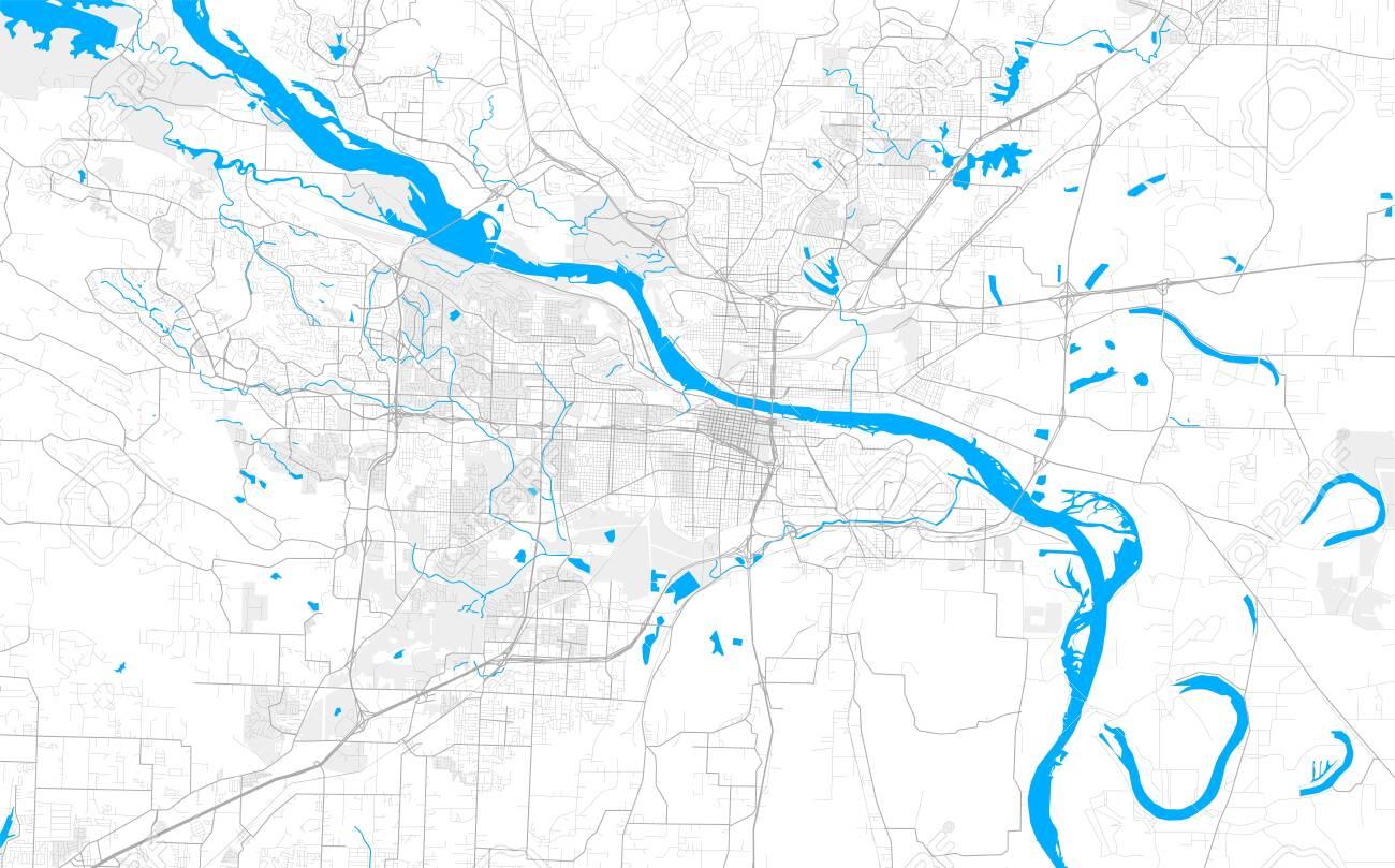 Rich detailed vector area map of Little Rock, Arkansas, USA...