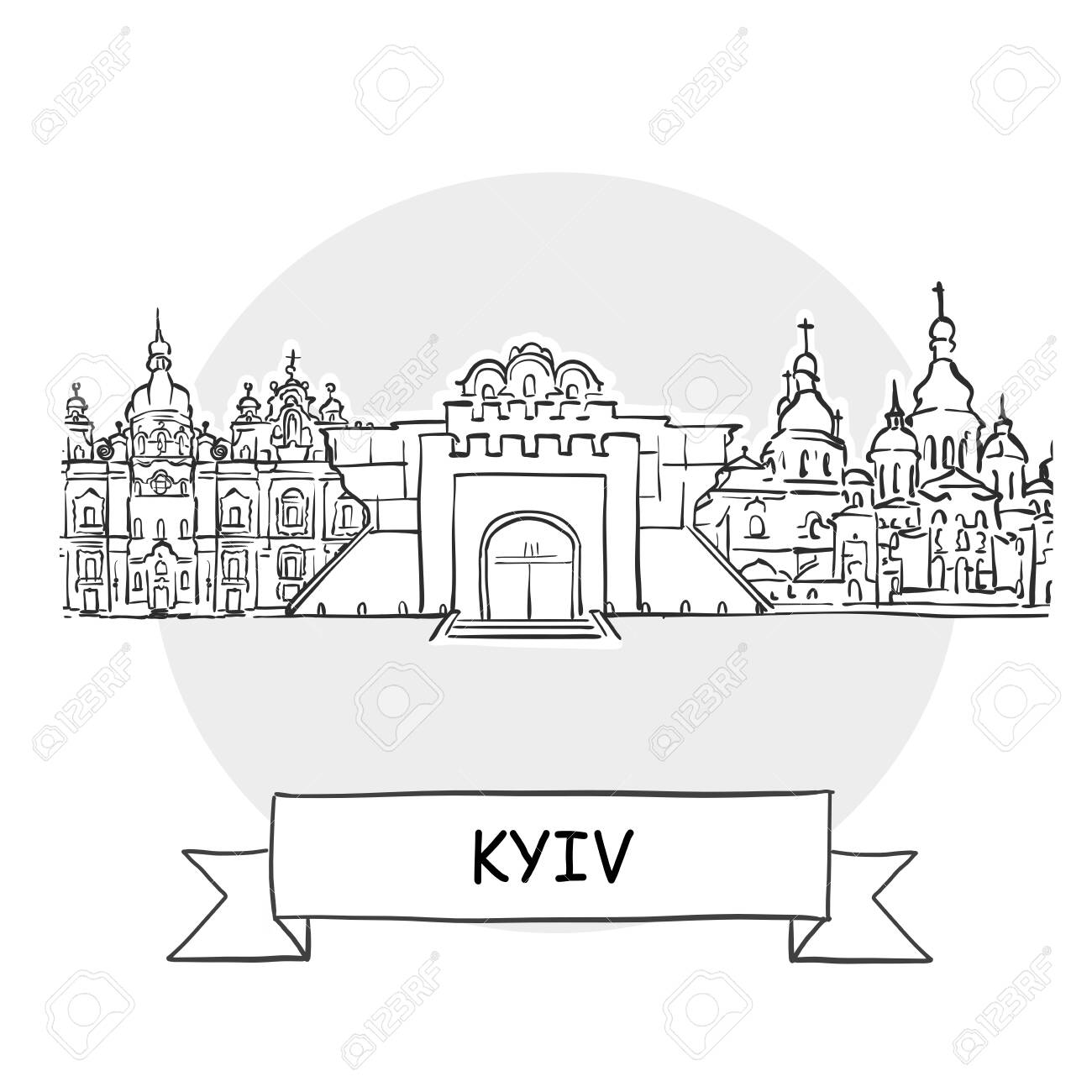 Kyiv Cityscape Vector Sign. Line Art Illustration with Ribbon and Title. - 142021965