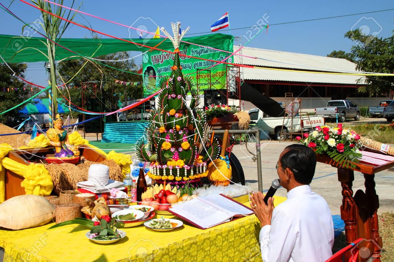 BORABUE, MAHASARAKHAM - JANUARY 6 : The unidentified buddhist is worshiping a spirit in Rice Celebration Festival on January 6, 2012 at Borabue Local Administration Plaza, Borabue, Mahasarakham, Thailand. Stock Photo - 11817639