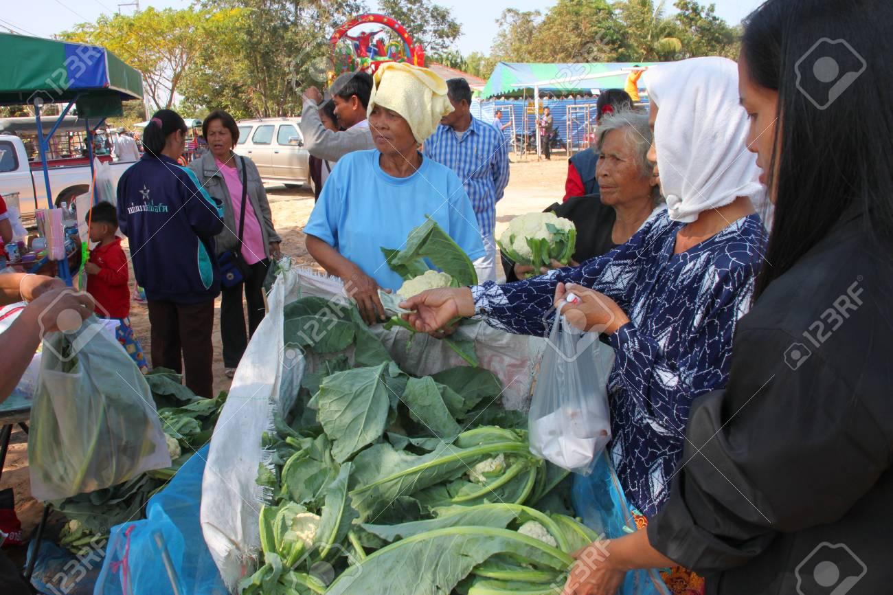 BORABUE, MAHASARAKHAM - JANUARY 6 : The unidentified woman is buying vegetable in Rice Celebration Festival on January 6, 2012 at Borabue Local Administration Plaza, Borabue, Mahasarakham, Thailand. Stock Photo - 11817630