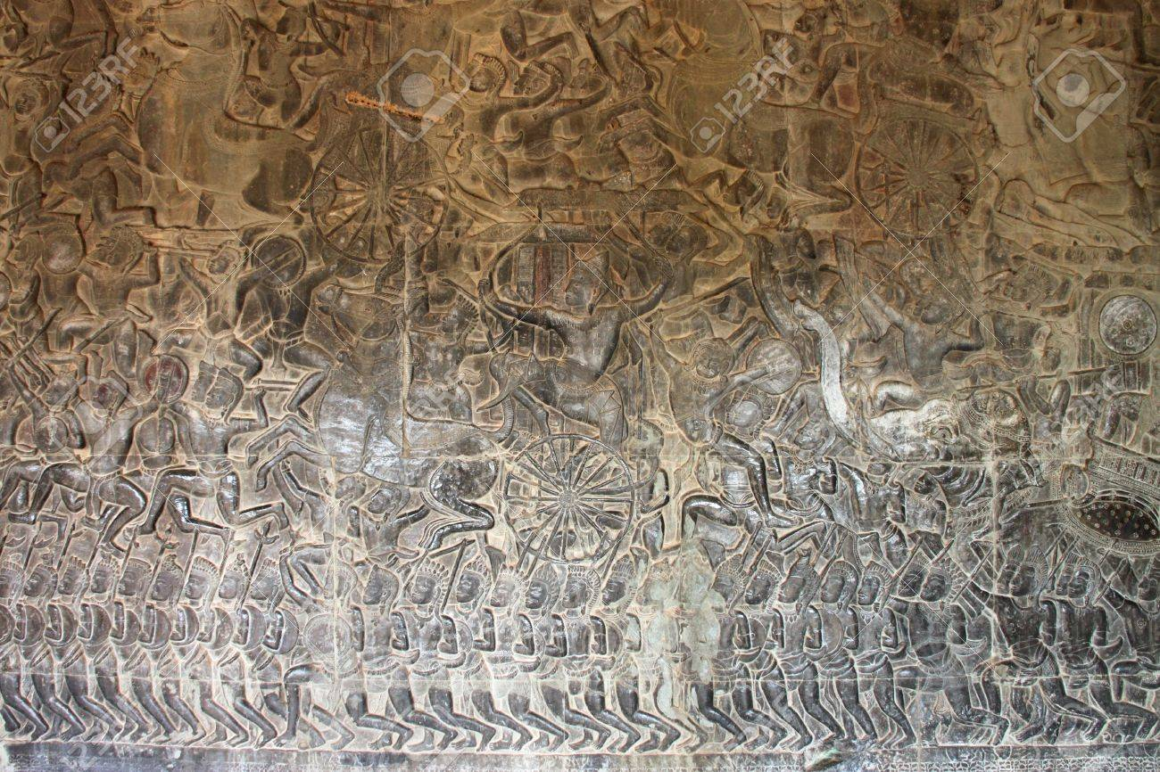 Carvings on wall and terrace of Angkor Wat, Siemreap, Khmer Republic. Stock Photo - 12639059