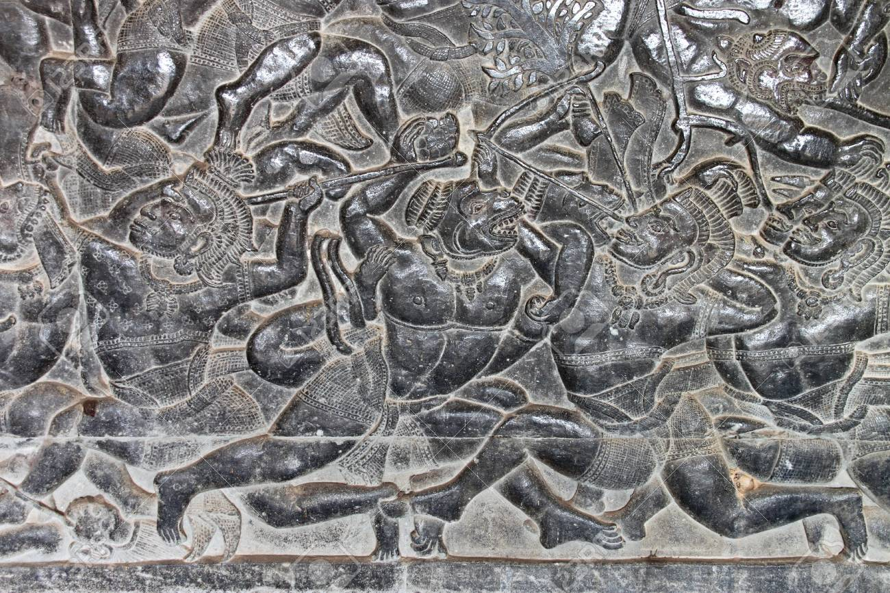 Carvings on wall and terrace of Angkor Wat, Siemreap, Khmer Republic. Stock Photo - 12639003