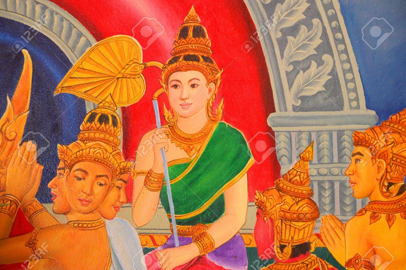 Buddha's biography painting on wall of temple, Wat Pa Samoson, Mahasarakham, Thailand Stock Photo - 14681497