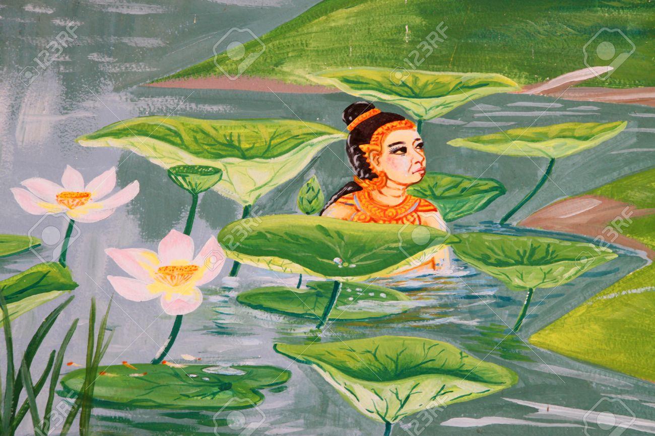 Vessantara, the tenth Bodhisattva, story of the Buddha in his tenth existence mural painting on wall of temple at Wat Suwannavat,Nong Jik village, Muang, Mahasarakham, Thailand Stock Photo - 14816299