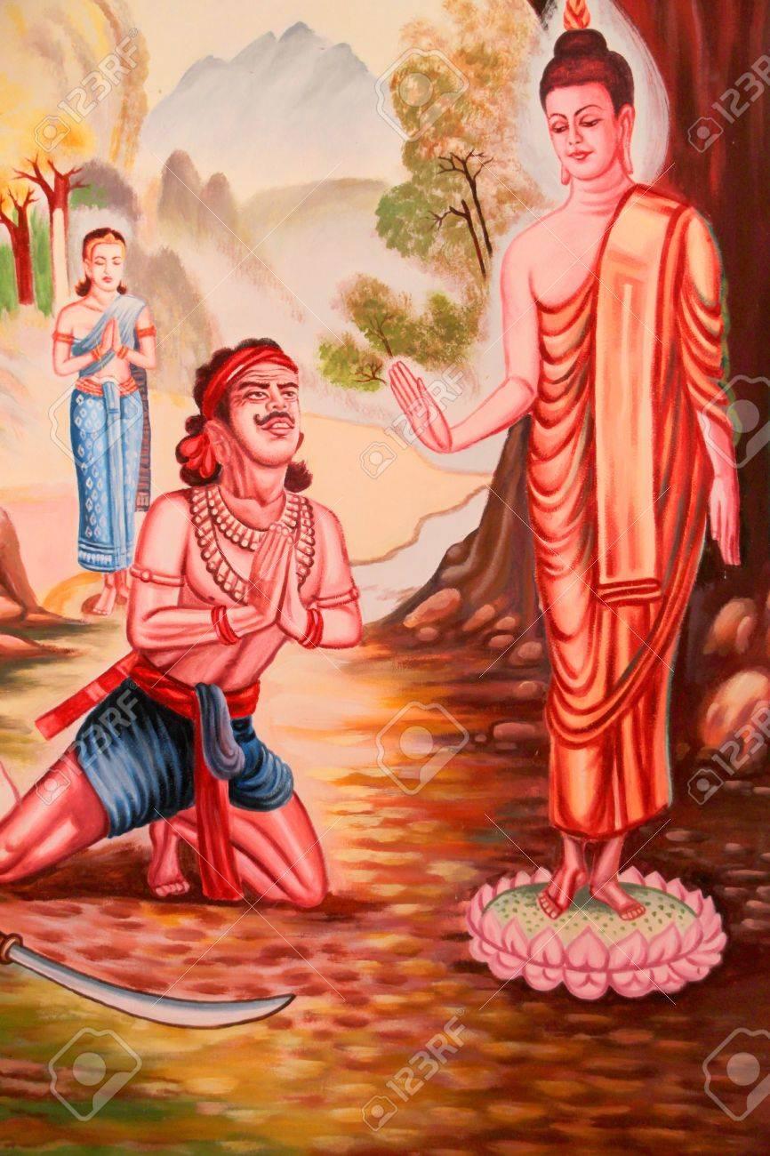 Buddha's biography painting on wall of Wat Non Tae, Tha song Kon, Mahasarakham, Thailand. Stock Photo - 15453208