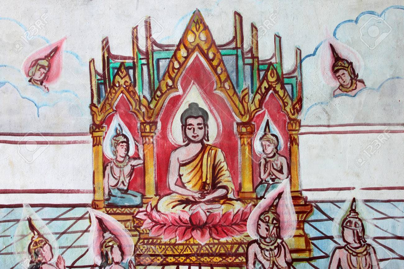Buddha's biography painting on wall of Buddhist temple Stock Photo - 15546693
