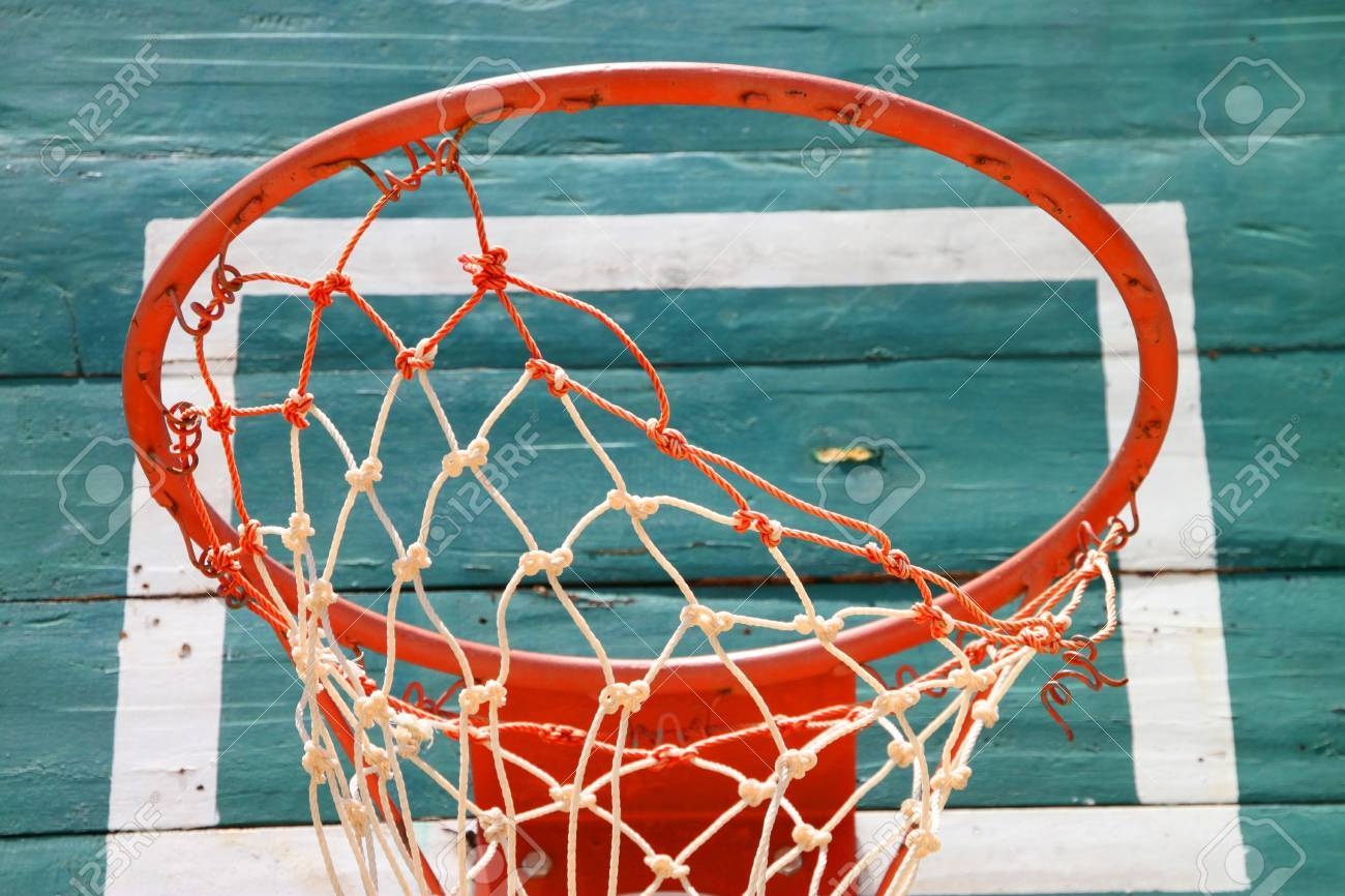 Old basketball net and green board Stock Photo - 16668696