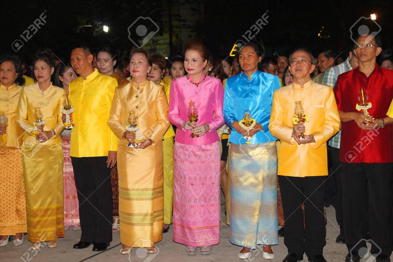 MUANG, MAHASARAKHAM - DECEMBER 5 : Unidentified people are celebrating the king Rama IX birthday on December 5, 2012 at city hall ground, Muang, Mahasarakham, Thailand. Stock Photo - 17118490