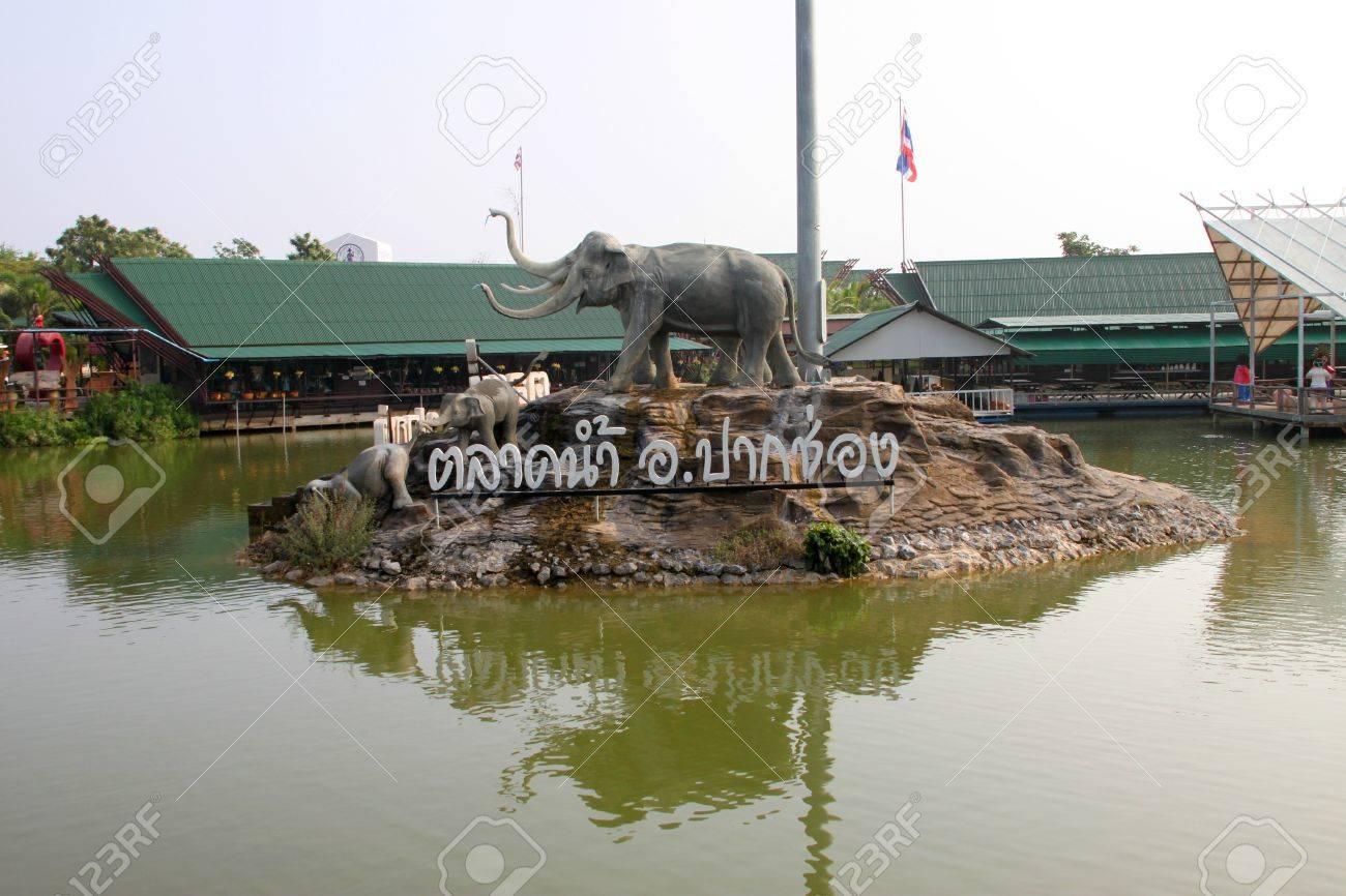 Elephants statue on October 14, 2012 at Pak Chong Floating Market, Korat, Thailand. Stock Photo - 17712833