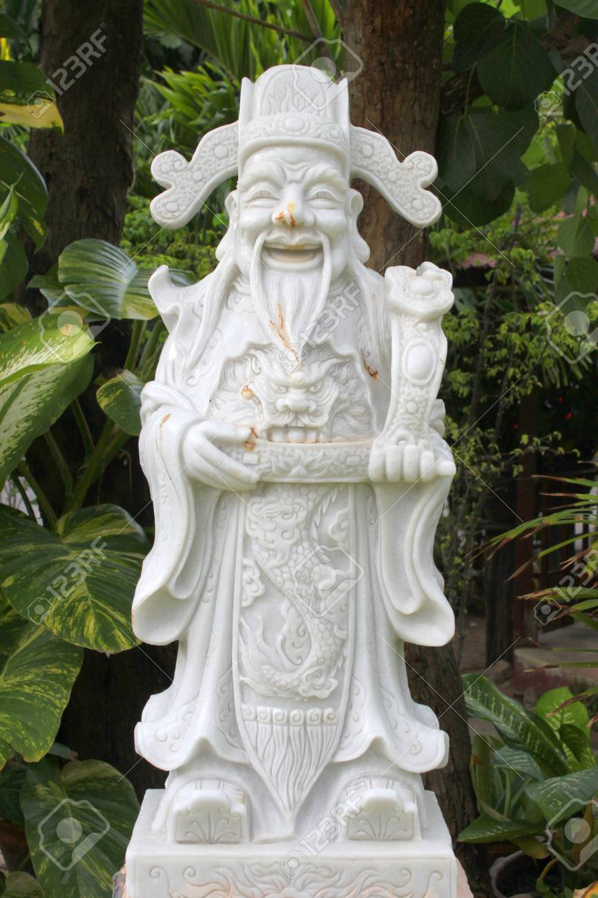 Chinese statue for home garden decoration and concept of good..