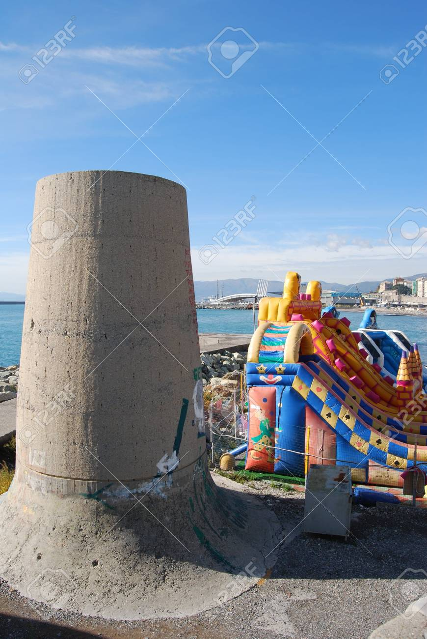The city of Genoa with its palace, skyscraper and the acient quarter of Boccadasse Stock Photo - 12326480