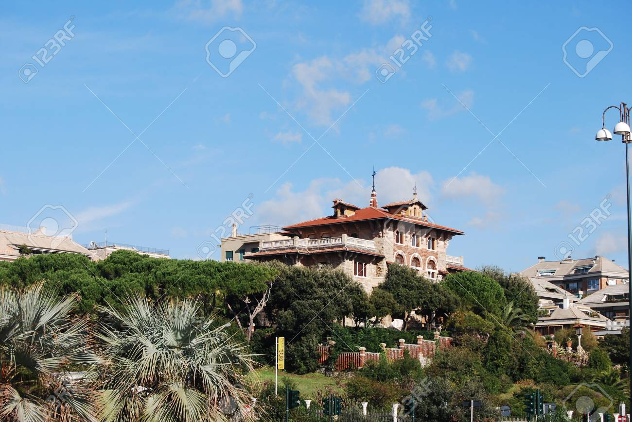 The city of Genoa with its palace, skyscraper and the acient quarter of Boccadasse Stock Photo - 12448236