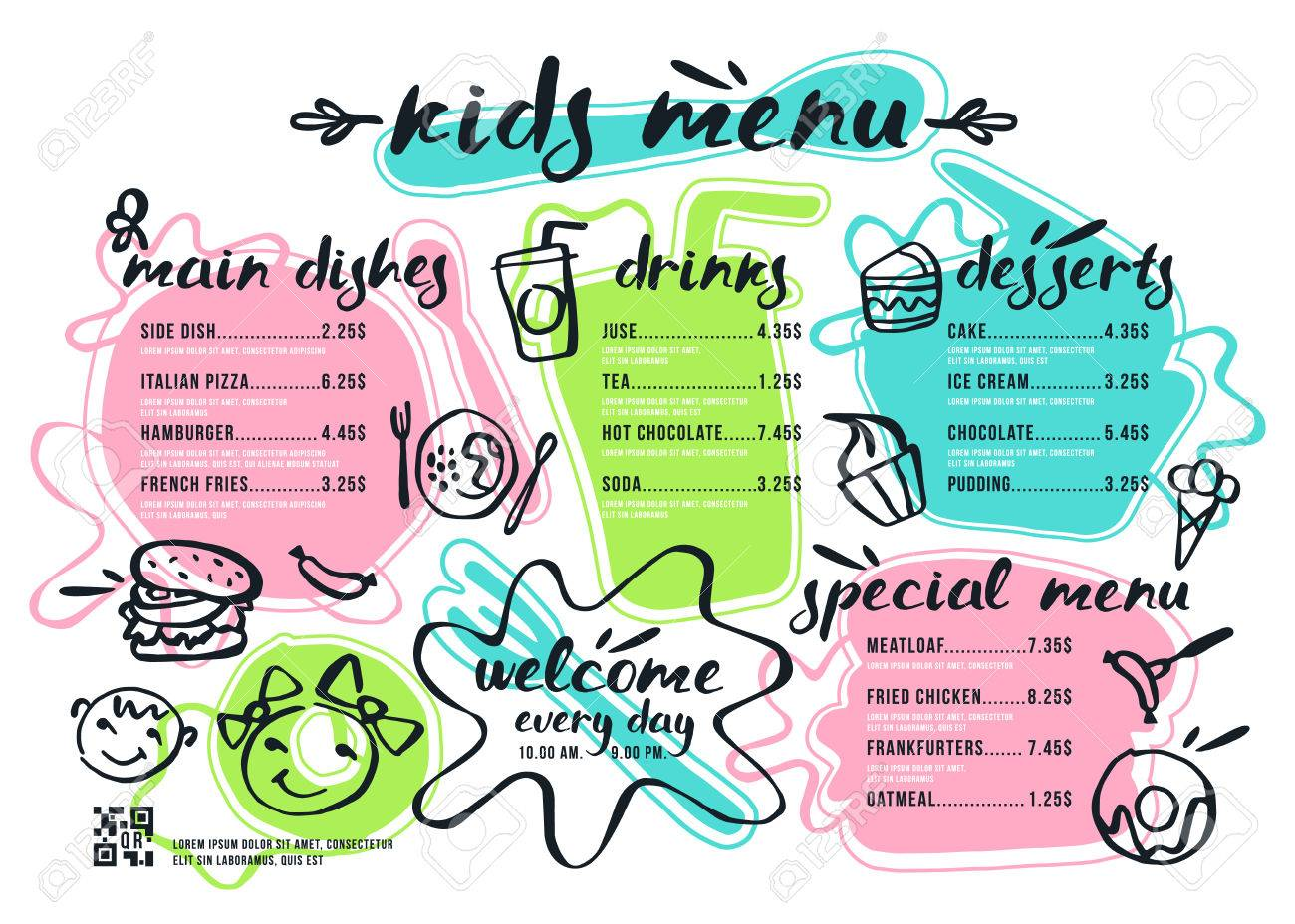 kids menu template with lettering and badges in brush drawing