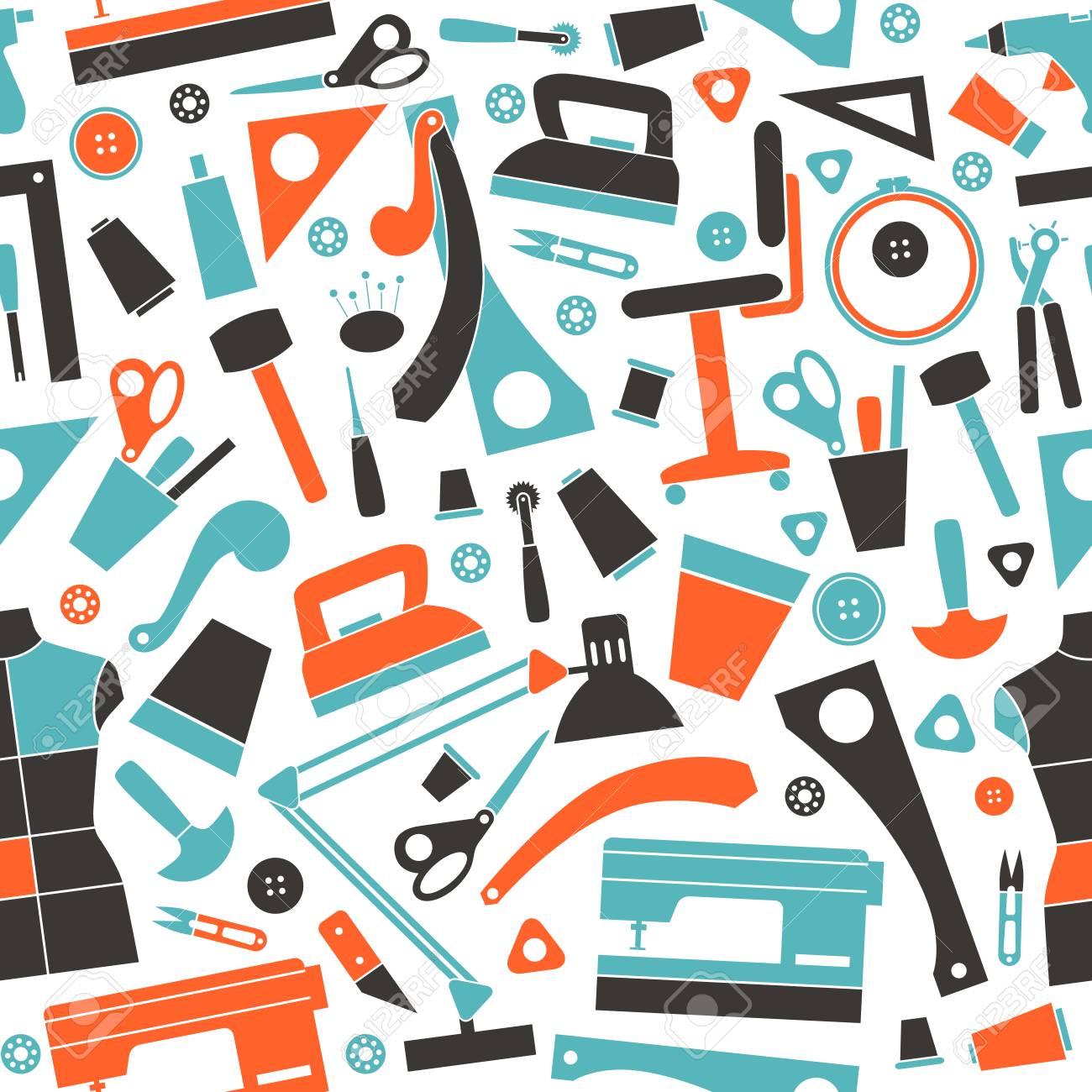Nahtlose Muster Mit Bild Nähen Und Hobby-Tools In Flachen Stil ...