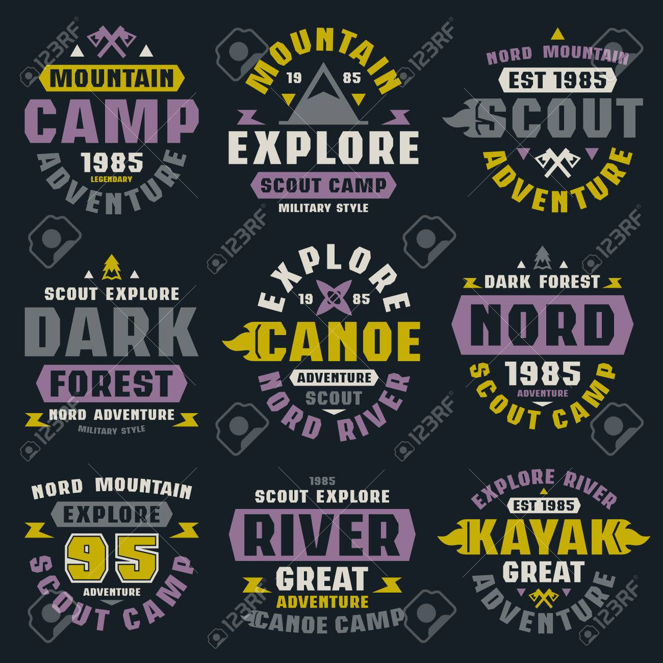 f6de3011 Camping and tourism badges. Graphic design for t-shirt. Color print on black