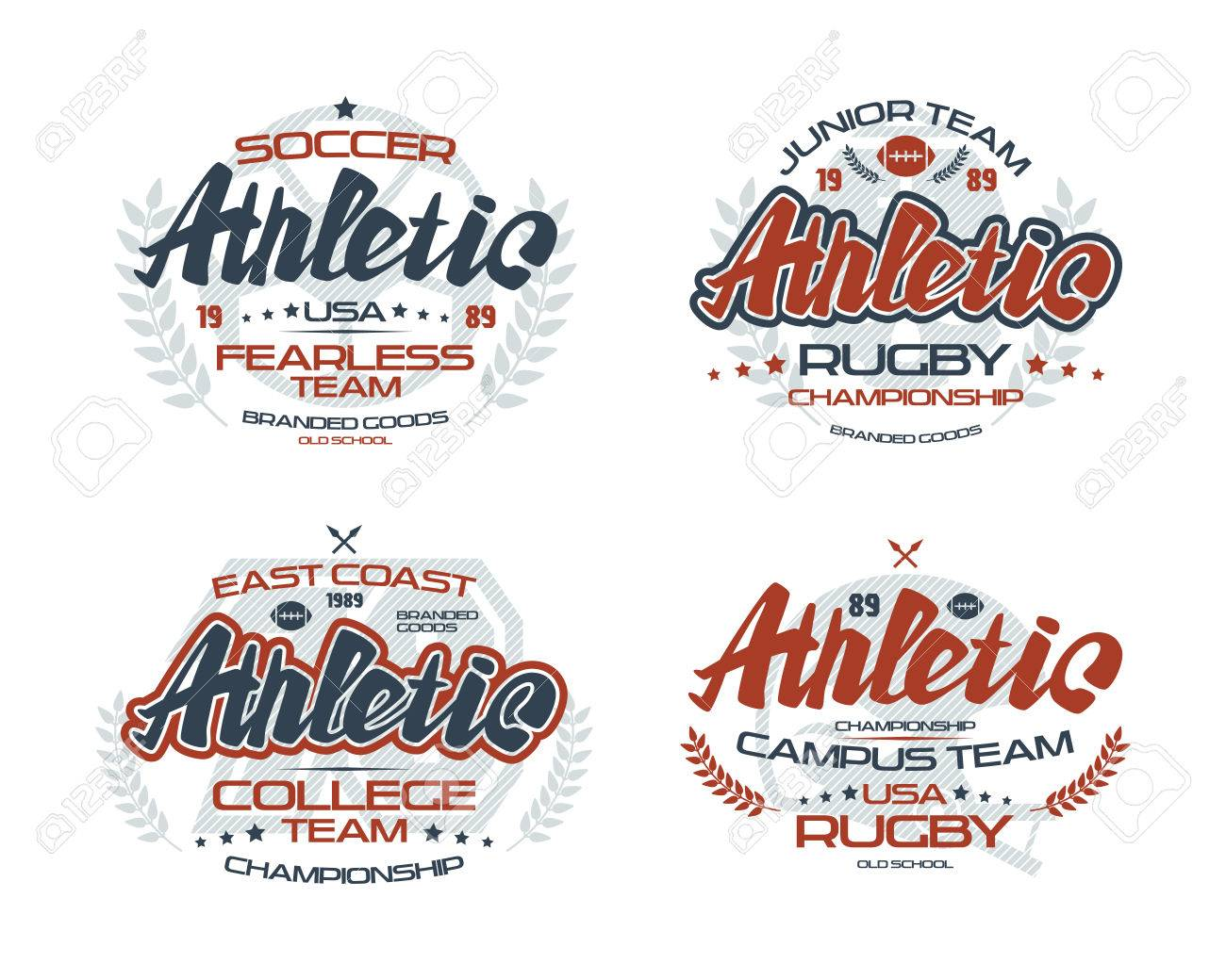 college rugby and soccer team emblems for t shirt color print
