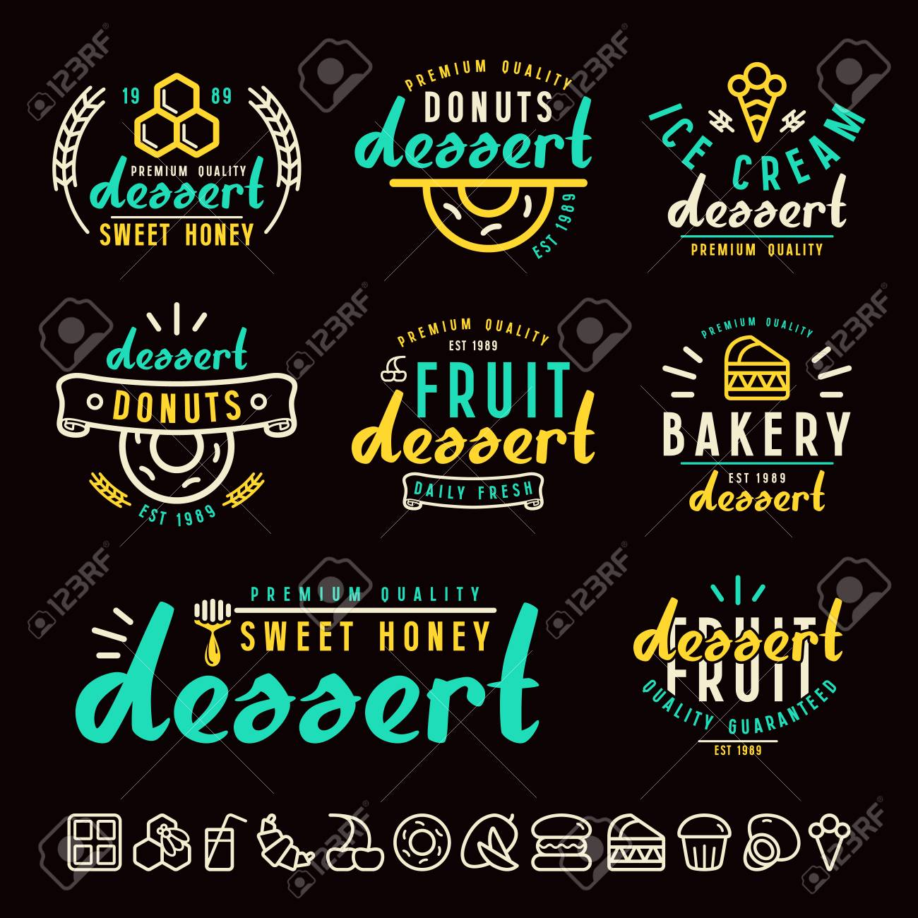 Set Of Dessert Labels Badges And Icons Color Print On Black Background Stock Vector