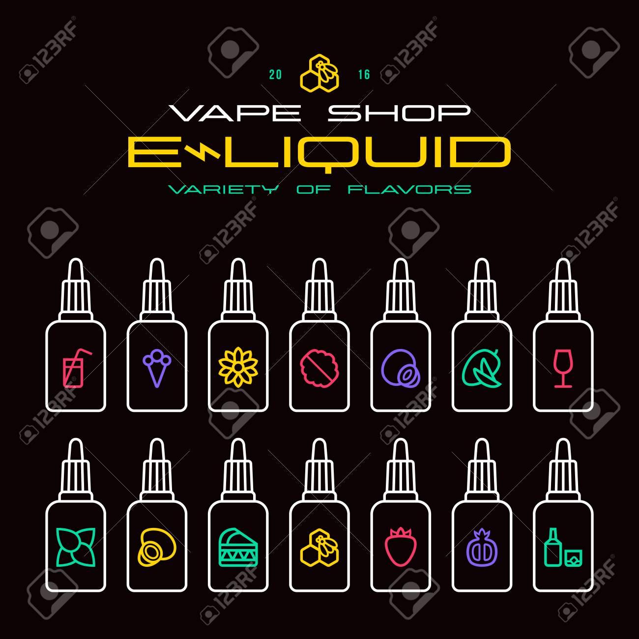 Vape shop e-liquid flavors icons set in thin line style  Bright