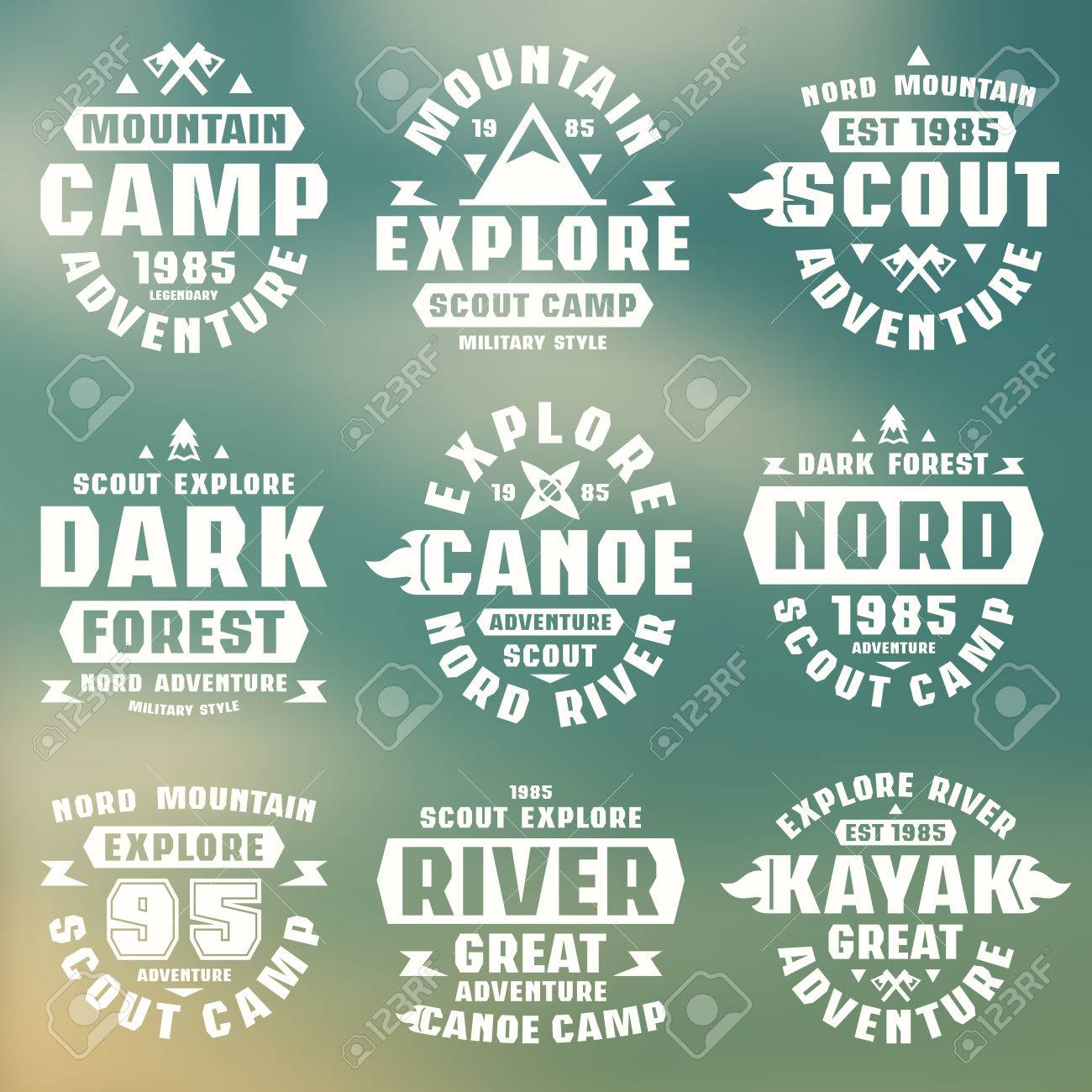 f663f208 Camping and tourism badges. Graphic design for t-shirt. White print on  blurred