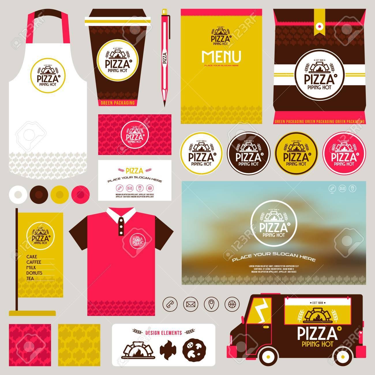 Concepto De Identidad Pizzería Maqueta Plantilla. Menú. Tarjeta ...