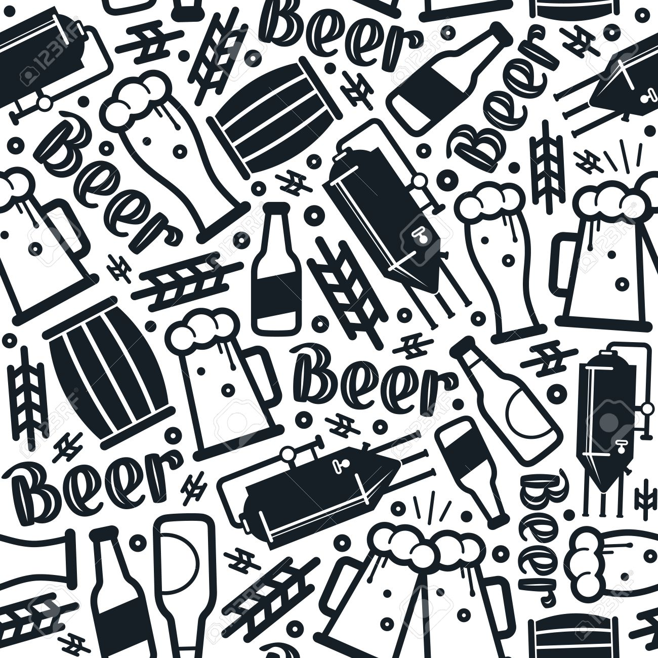 Craft Beer Brewery Seamless Pattern Black Print On White Background Stock Vector