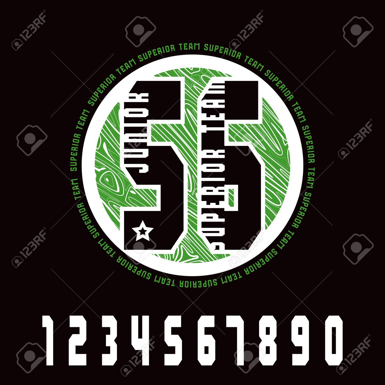 Sport Numbers And Emblem. Graphic Design For T-shirt. Color Print ...
