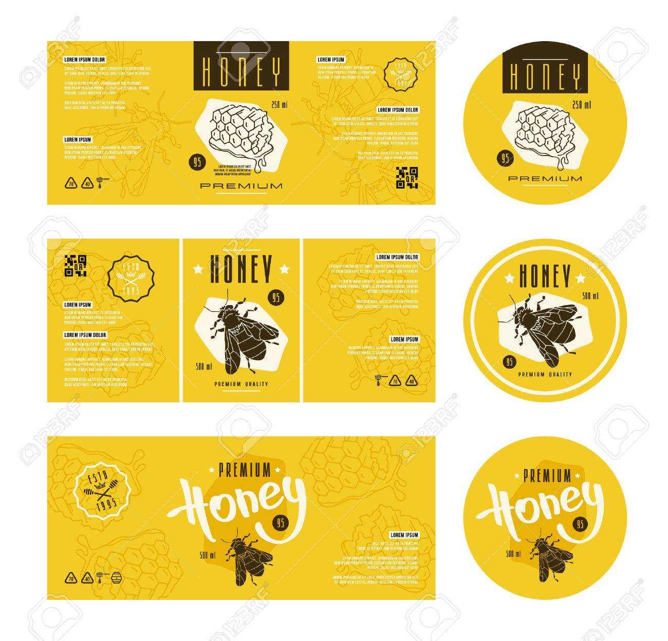 Set of templates label for honey. With hand-drawn graphic - 66351550