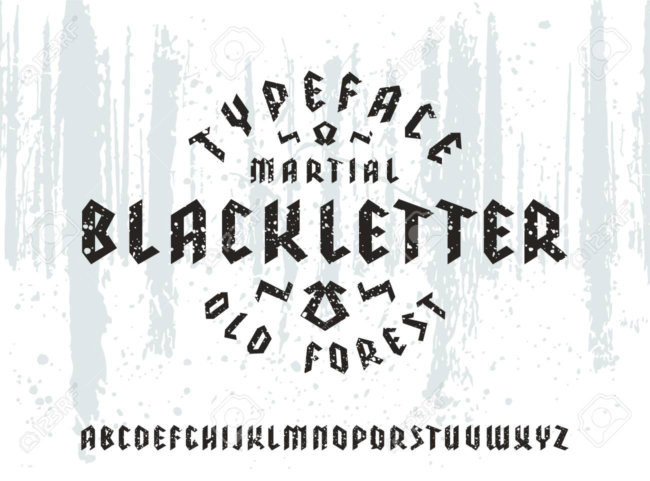Sanserif Font In Black Letter Style With Spray Texture Gothic Typeface On Forest Background