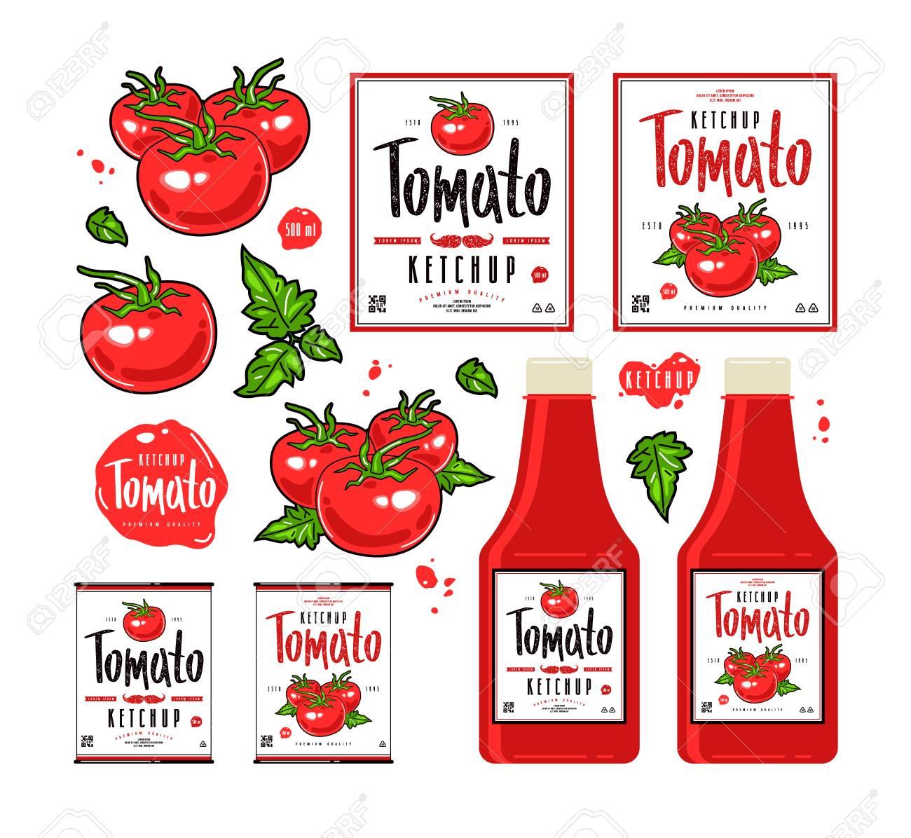 Conjunto De Etiquetas De Plantilla Para Salsa De Tomate. Ilustración ...