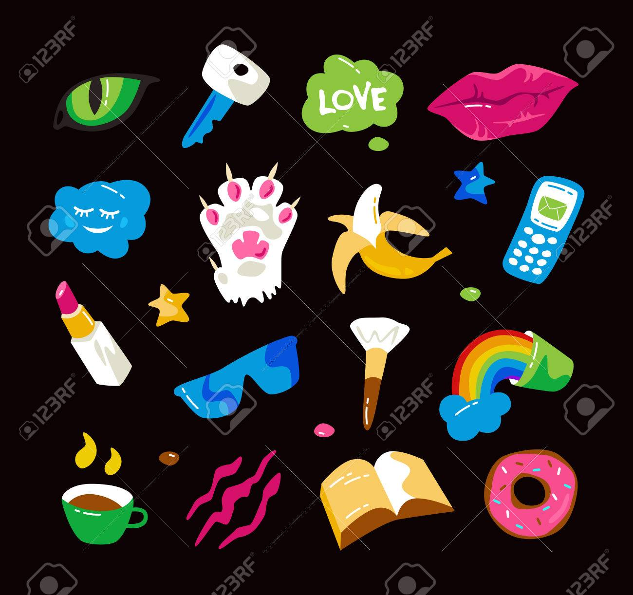 Fashion stickers with lips, cat paw, cat eye and other elements. Colorful graphics in hand drawings style. Isolated on black background Stock Vector - 75529782